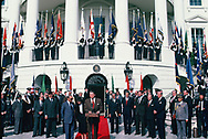 President Ronald Reagan with Arab League Ministers at the Diplomatic entrance of the White House on October 22, 1982<br />Photo by Dennis Brack