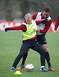 CARDIFF, WALES - Sunday, March 24, 2013: Wales' Jonathan Williams and Lewin Nyatanga during a training session at the Vale of Glamorgan ahead of the 2014 FIFA World Cup Brazil Qualifying Group A match against Croatia. (Pic by David Rawcliffe/Propaganda)  CARDIFF, WALES - Sunday, March 24, 2013: Wales' xxxx during a training session at the Vale of Glamorgan ahead of the 2014 FIFA World Cup Brazil Qualifying Group A match against Croatia. (Pic by David Rawcliffe/Propaganda)