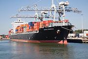 Container ship 'Santa Rebecca' and cranes, Port of Rotterdam, Netherlands