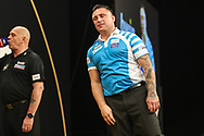 Gerwyn Price misses a shot at a double during the 2018 Grand Slam of Darts at Aldersley Leisure Village, Wolverhampton, United Kingdom on 16 November 2018. Picture by Shane Healey.