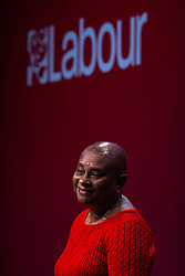 © Licensed to London News Pictures. 29/09/2021. Brighton, UK. DOREEN LAWRENCE introduces Sir Keir Starmer to the stage for the Leader's speech . The final day of the 2021 Labour Party Conference , which is taking place at the Brighton Centre . Photo credit: Joel Goodman/LNP