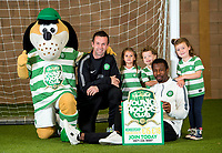 03/10/14<br /> LENNOXTOWN - GLASGOW<br /> Celtic Mascot Hoopy, manager Ronny Deila and defender Efe Ambrose are joined by supporters Zara Morcombe (4), Drew Benziger (3), Orla Forrest (3) to promote the Young Hoops Club