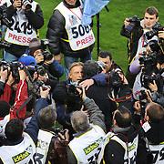 Galatasaray's coach Frank RIJKAARD (F) and Fenerbahce's coach Christoph DAUM (B) during their Turkish superleague soccer derby match Galatasaray between Fenerbahce at the AliSamiYen Stadium at Mecidiyekoy in Istanbul Turkey on Sunday, 28 March 2010. Photo by Mehmet ESKICI/TURKPIX