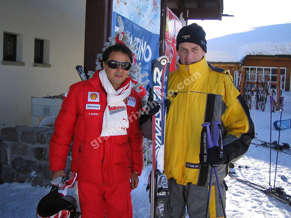 Felipe Massa and Peter Nygaard at the 2009 Ferrari ski week / Wrooom in Madonna di Campiglio. Photo: Grand Prix Photo