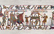 11th Century Medieval Bayeux Tapestry - Scene 46 - A watchman informs William of Horold armies movements. Scene 47 - Williams men burn down a house. .<br /> <br /> If you prefer you can also buy from our ALAMY PHOTO LIBRARY  Collection visit : https://www.alamy.com/portfolio/paul-williams-funkystock/bayeux-tapestry-medieval-art.html  if you know the scene number you want enter BXY followed bt the scene no into the SEARCH WITHIN GALLERY box  i.e BYX 22 for scene 22)<br /> <br />  Visit our MEDIEVAL ART PHOTO COLLECTIONS for more   photos  to download or buy as prints https://funkystock.photoshelter.com/gallery-collection/Medieval-Middle-Ages-Art-Artefacts-Antiquities-Pictures-Images-of/C0000YpKXiAHnG2k