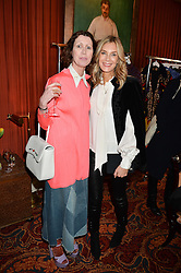 Left to right, VALERIA NAPOLEONE and KIM HERSOV at a lunch hosted by Mary Katranzou to celebrate her LFW AW 2016 collection at Mark's Club, London on 23rd February 2016.