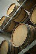 Wine cellar with wine barrels, Lesbos, Greece