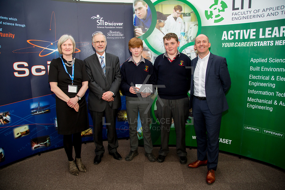 27.04.2016.          <br />  Kalin Foy and Ciara Coyle win SciFest@LIT<br /> Kalin Foy and Ciara Coyle from Colaiste Chiarain Croom to represent Limerick at Ireland's largest science competition.<br /> <br /> John The Baptist Community School students, Patrick Gleeson and Cormac Hanly's project, An investigation into horse mortality in Ireland due to the consumption of hypoglycin A in sycamore seeds, was highly commended in the Life Sciences Category.  Patrick Gleeson and Cormac Hanly are pictured with George Porter, SciFest and Brian Aherne, Intel<br /> <br /> Of the over 110 projects exhibited at SciFest@LIT 2016, the top prize on the day went to Kalin Foy and Ciara Coyle from Colaiste Chiarain Croom for their project, 'To design and manufacture wireless trailer lights'. The runner-up prize went to a team from John the Baptist Community School, Hospital with their project on 'Educating the Youth of Ireland about Farm Safety'. Picture: Alan Place