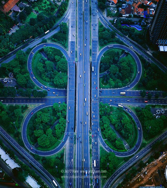 Semanggi Cloverleaf Bridge, Jakarta, Java, Indonesia.