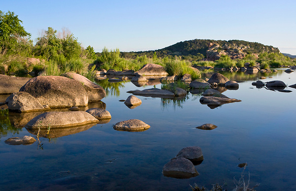 Stock photo of sunset along the Llano River in the Texas Hill Country