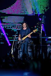 INGLEWOOD, CA - SEPTEMBER 24: Bassist Juan Calleros of Mana performs on stage during a stop of the band's Latino Power Tour at the Forum on September 24, 2016 in Inglewood,California USA. Byline, credit, TV usage, web usage or linkback must read SILVEXPHOTO.COM. Failure to byline correctly will incur double the agreed fee. Tel: +1 714 504 6870.