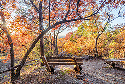 Benches and trees in fall color on Piedmont Ridge overlooking the Great Trinity Forest, Dallas, Texas, USA. HDR composite to add dynamic range).
