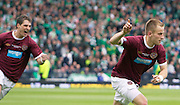 The William Hill Scottish FA Cup Final 2012 Hibernian Football Club v Heart Of Midlothian Football Club..19-05-12...Hearts Danny Grainger celebrates scoring from the spot to make it 3-1        during the William Hill Scottish FA Cup Final 2012 between (SPL) Scottish Premier League clubs Hibernian FC and Heart Of Midlothian FC. It's the first all Edinburgh Final since 1986 which Hearts won 3-1. Hearts bid to win the trophy since their last victory in 2006, and Hibs aim to win the Scottish Cup for the first time since 1902....At The Scottish National Stadium, Hampden Park, Glasgow...Picture Mark Davison/ ProLens PhotoAgency/ PLPA.Saturday 19th May 2012.