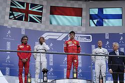 September 1, 2019, Spa Francorchamps, Belgium: Ferrari Driver CHARLES LECLERC (MC) on the podium of the Formula one Johnnie Walker Belgian Grand Prix at the SPA Francorchamps circuit - Belgium..Charles Leclerc wins his first Formula One Grand Prix (Credit Image: © Pierre Stevenin/ZUMA Wire)