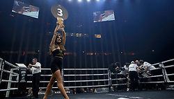 A ring girl in the British middleweight title at the Manchester Arena. PRESS ASSOCIATION Photo. Picture date: Saturday February 17, 2018. See PA story BOXING Manchester. Photo credit should read: Peter Byrne/PA Wire.