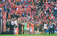 Blackpool players lift the EFL Sky Bet League One Play-Off trophy<br /> <br /> Photographer Chris Vaughan/CameraSport<br /> <br /> The EFL Sky Bet League One Play-Off Final - Blackpool v Lincoln City - Sunday 30th May 2021 - Wembley Stadium - London<br /> <br /> World Copyright © 2021 CameraSport. All rights reserved. 43 Linden Ave. Countesthorpe. Leicester. England. LE8 5PG - Tel: +44 (0) 116 277 4147 - admin@camerasport.com - www.camerasport.com