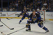 St. Louis Blues defenseman Jay Bouwmeester (19, right), St. Louis Blues defenseman Roman Polak (46, background center) and St. Louis Blues goalie Jake Allen (34) in first period action during a game between the Columbus Blue Jackets and the St. Louis Blues on Friday April 5, 2013 at the Scottrade Center in downtown St. Louis.