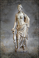 2nd - 1st century BC Roman marble sculpture of Aphrodite (Venus), 'Marine Venus' Type with a dolphin, copied from a Hellenistic Greek original,  inv 6296, Museum of Archaeology, Italy, white background. Wall art print by Photographer Paul E Williams .<br /> <br /> If you prefer visit our World Gallery Print Shop To buy a selection of our prints and framed prints desptached  with a 30-day money-back guarantee and is dispatched from 16 high quality photo art printers based around the world. ( not all photos in this archive are available in this shop) https://funkystock.photoshelter.com/p/world-print-gallery