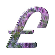 The Pound currency symbol. Part of a set of letters, Numbers and symbols of 3D Alphabet made with a floral image on white background