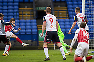 GOAL 0-1 Cheltenham Town forward Alfie May (10) scores a goal during the EFL Sky Bet League 2 match between Bolton Wanderers and Cheltenham Town at the University of  Bolton Stadium, Bolton, England on 16 January 2021.