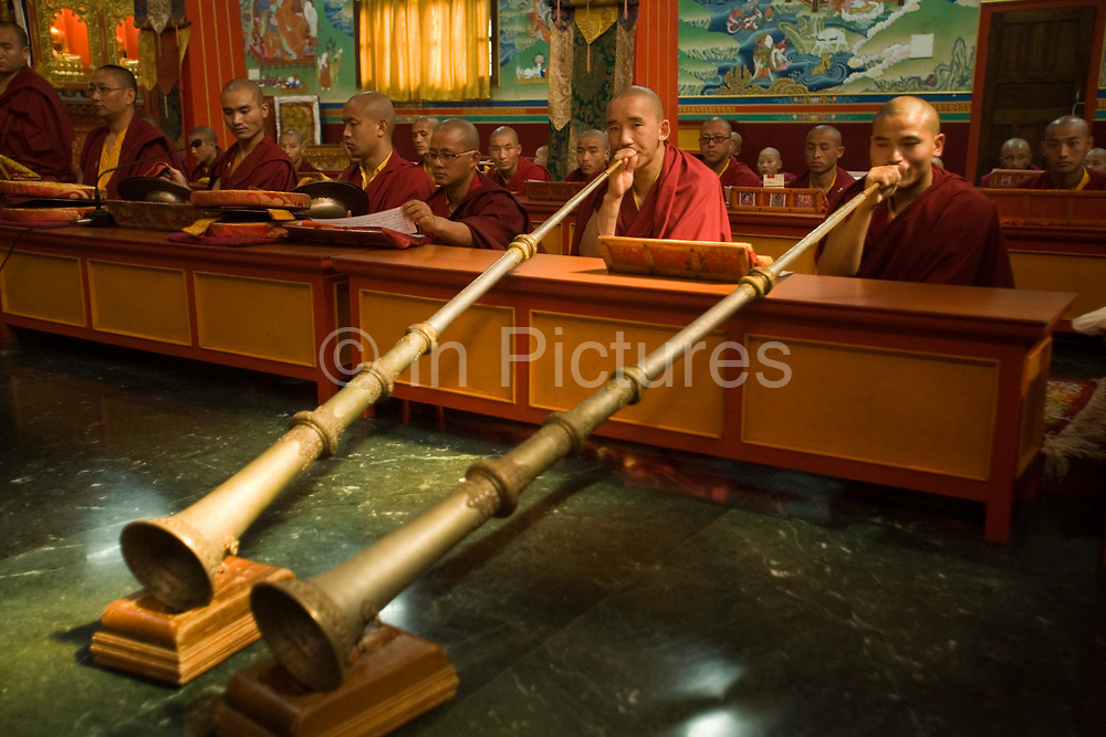 Buddhist monks reading and chanting sutras at the Vajra Vidya Institute for Buddhist studies in Sarnath, India