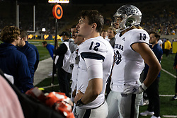 Nevada quarterback Carson Strong (12) and tight end Cole Turner (19) watch the closing minutes of their team's 22-17 victory during the fourth quarter of an NCAA college football game against California, Saturday, Sept. 4, 2021, in Berkeley, Calif. (AP Photo/D. Ross Cameron)
