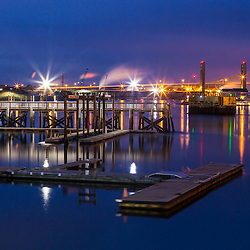 Boat dock at Prescott Park on the Piscataqua River in Portsmouth, New Hampshire.