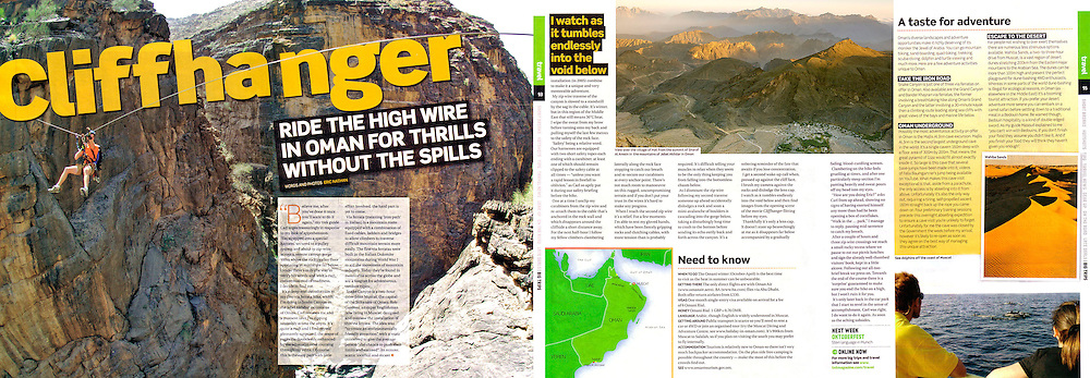 Tear sheet of an article I both wrote and photographed on adventure sports in Oman for TNT magazine.