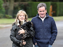 ©London News Pictures. 04/02/2011 Richard Keys and wife Julia leave their home in Chobham. Keys recently resigned from Sky due amid claims of sexism.Photo credit should read: London News Pictures