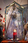 MEXICO CITY, MEXICO:  A statue of the bride of Santa Muerte (St. Death) in Iglesia de la Piedad (Mercy Church) in the Tepito section of Mexico City. St. Death is venerated throughout Mexico and Mexican communities in the United States. The veneration of St. Death started in Mexico's prisons about 10 years and has since spread through working class neighborhoods in many Mexican cities. The worship of St. Death was recognized as an official by the Mexican government in 2003. The Catholic Church in Mexico is opposed to the worship of St. Death and has held rallies and prayer vigils against the Saint. The small church in Tepito is frequently swamped with visitors and the religion has spread quickly through the tough, drug and crime plagued neighborhood, widely considered the most lawless in Mexico City.    PHOTO BY JACK KURTZ