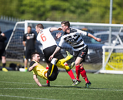 East Stirling's Ross Fisher and East Stirling's Kris Faulds  with Edinburgh City's Ian McFarland. East Stirling v Edinburgh City, League play-off game.