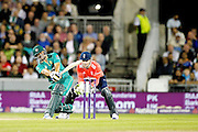 Khalid Latif hits asix for Pakistan during the International T20 match between England and Pakistan at the Emirates, Old Trafford, Manchester, United Kingdom on 7 September 2016. Photo by Craig Galloway.