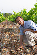 Chateau de Lascaux, Vacquieres village. Pic St Loup. Languedoc. Jean-Benoît Cavalier . Tourtourelle area. Terroir soil. Owner winemaker. France. Europe. Vineyard. Soil with stones rocks.
