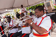 Musicians with the Royal Bahamian Police band perform in Parliament Square Nassau , Bahamas.