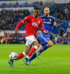 Jonathan Kodjia of Bristol City battles for the ball with Matthew Connolly of Cardiff City  - Mandatory byline: Joe Meredith/JMP - 07966 386802 - 26/10/2015 - FOOTBALL - Cardiff City Stadium - Cardiff, Wales - Cardiff City v Bristol City - Sky Bet Championship