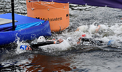 Swimmers make their way to the first relay change in the Mixed Relay during day ten of the 2018 European Championships at Loch Lomond, Stirling.