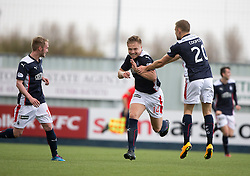 Falkirk's Peter Grant celebrates after scoring their fourth goal.<br /> Half time : Falkirk 4 v 0 Cowdenbeath, Scottish Championship game played at The Falkirk Stadium, 25/10/2014.