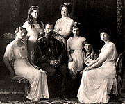 The Russian royal family, 1914.  Nicholas II and the Tsarina with thier four daughters and their son the Tsarevich.