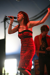 Kate Jackson, lead-singer with The Long Blondes, plays on the King Tut's Wah Wah Tent, at T in the Park, Saturday 7 July 2007..T in the Park festival took place on the 6th, 7th and 8 July 2007, at Balado, near Kinross in Perth and Kinross, Scotland. This was the first time the festival had been held over three days..Pic ©Michael Schofield. All Rights Reserved..