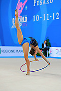 Kratochwill Spela during qualifying at hoop in Pesaro World Cup at Adriatic Arena on 10 April 2015. Spela is a Slovenian individual rhythmic gymnast born January 27, 1998 in Ljubljana, Slovenia.