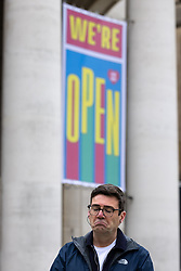 © Licensed to London News Pictures. 15/05/2021. Manchester, UK. Newly re-elected Manchester Metro Mayor ANDY BURNHAM holds a press conference in St Peter's Square , central Manchester , to announce modifications in the city's approach to rough sleeping and homelessness and to address questions about the spread of Coronavirus in the North West and particularly Bolton and the potential of another local lockdown . Photo credit: Joel Goodman/LNP