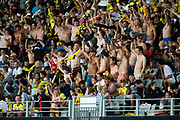 Wellington Phoenix faithful, during their 1-0 win over Melbourne City FC, during the Hyundai A-League football match, between Wellington Phoenix and Melbourne City FC, held at Eden Park, Auckland, New Zealand.  15  February  2020    Photo: Brett Phibbs / www.photosport.nz