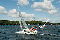 The Winnipesaukee Yacht Club's youth racing event Wednesday brought out the 420's with Elizabeth McCabe and Kelsie Grant along with Liam Shanahan and Wyatt Himmer negotiating the course in Saunders Bay.  (Karen Bobotas/for the Laconia Daily Sun)