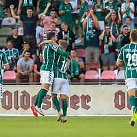 28.08.2019, Stadion Lohmühle, Luebeck, GER,  VFB Lübeck/Luebeck vs VfL Wolfsburg IIi<br /> <br /> DFB REGULATIONS PROHIBIT ANY USE OF PHOTOGRAPHS AS IMAGE SEQUENCES AND/OR QUASI-VIDEO.<br /> <br /> im Bild / picture shows<br /> Torjubel/Jubel. Torschütze/Torschuetze Ahmet Arslan  (VfB Luebeck) jubelt ueber das Tor zum 1:0.<br /> <br /> Foto © nordphoto / Tauchnitz