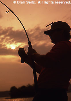 Outdoor recreation, Fishing, Catch, Sunset