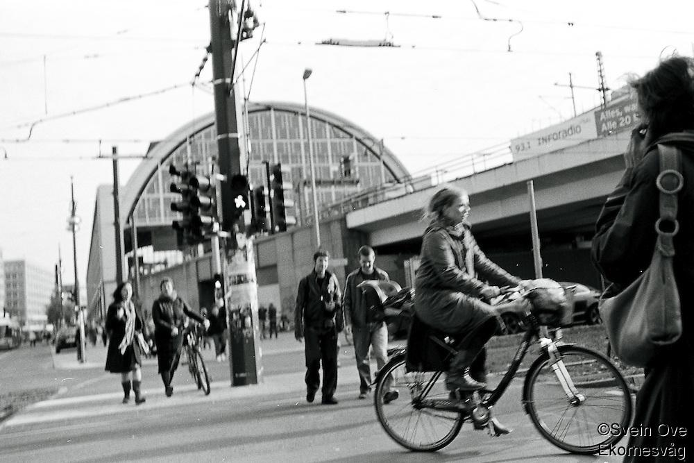 Pedestrians walking across a street in Berlin.<br /> <br /> Berlin street photography 2010. Gatefotografi fra Berlin i 2010.<br /> <br /> Foto: Svein Ove Ekornesvåg