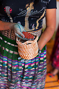 Detail shot of a Guatemalan woman showing the various dyes used for traditional natural textile dyeing in San Juan La Laguna - one of the villages on the banks of Lake Atitlan. It is smaller than many of the other towns and with many pess toruists, which has allowed it to preserve much of its traditional culture, which is making textiles with natural dyes. Lake Atitlan is seen as the most important single tourist attraction in Guatemala; and is Central Americas deepest lake. There are many villages on the banks of the lake; each with different identity and culture; the majority of the population in the region identify as indigenous Maya and many still wear traditional dress and speak Maya languages.