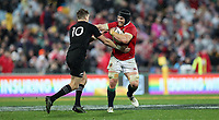 Rugby Union - 2017 British & Irish Lions Tour of New Zealand - Second Test: New Zealand vs. British & Irish Lions<br /> <br /> Sean O'Brien of The British and Irish Lions hold off Beauden Barrett of The All Blacks at Westpac Stadium, Wellington.<br /> <br /> COLORSPORT/LYNNE CAMERON