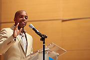 May 19, 2012 -New York, NY-United States:  Dr. Khalil Gibran Muhammad attends the Question Bridge: Black Male Blue Print Round Table moderated by Dr. Khalil Gibran Muhammad and hosted by Kevin Powell and held at the Iris and B.Gerald Cantor Auditorium in the Brooklyn Museum on May 19, 2012 in Brooklyn, New York. Question Bridge: Black Males is a transmedia art project that seeks to represent and redefine Black male identity in America. Question Bridge: Black Males was created by Chris Johnson and Hank Willis Thomas in collaboration with Bayeté Ross Smith and Kamal Sinclair. The Executive Producers are Delroy Lindo, Deborah Willis and Jesse Williams. (Photo by Terrence Jennings)