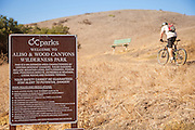 Mountain Biker Riding Uphill on Trail at Aliso and Wood Canyons Wilderness Park